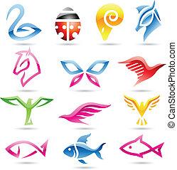 abstrakcyjny, barwny, zwierzęce ikony