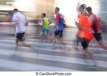 abstrakcyjny, biegacze, z, plama