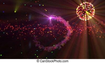 abstrakcyjny, celebrowanie, fajerwerki, 4k, nowy rok
