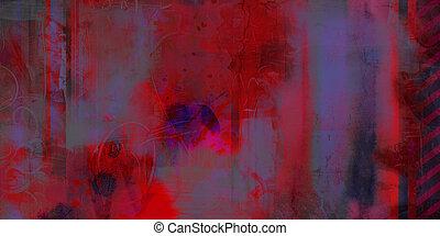 abstrakcyjny, czarnoskóry, błękitny, tony, czerwony