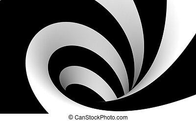abstrakcyjny, czarnoskóry, biały, spirala