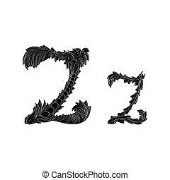 abstrakcyjny, czarnoskóry, logo, ikona, litera, projektować, z, biały