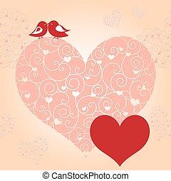 abstrakcyjny, czerwona karta, valentine
