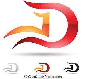 abstrakcyjny, d, litera, ikona