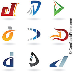 abstrakcyjny, d, litera, ikony