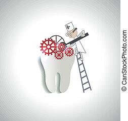 abstrakcyjny, doktor, traktuje, ilustracja, ząb