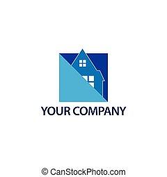 abstrakcyjny, dom, logo, -, błękitny, house., ilustracja, w, wektor, format