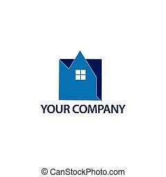 abstrakcyjny, dom, logo, -, błękitny, house., logo, wektor, ilustracja