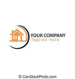 abstrakcyjny, dom, logo, -, pomarańcza, house., logo, wektor, ilustracja