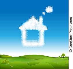 abstrakcyjny, dom, z, chmury, w, błękitne niebo, i, zielony krajobraz