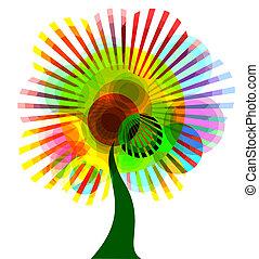 abstrakcyjny, drzewo, barwny