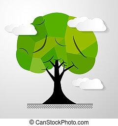 abstrakcyjny, drzewo, odizolowany, wektor, tło, biały