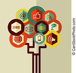 abstrakcyjny, drzewo, sieć, towarzyski