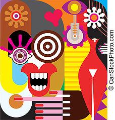 abstrakcyjny, dwa, ilustracja, kobiety