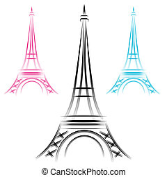 abstrakcyjny, eiffel wieża