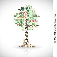 abstrakcyjny, ekologia, afisz, -, drzewo