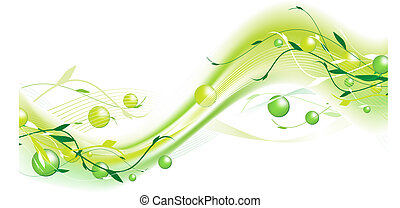 abstrakcyjny, falisty, zielony