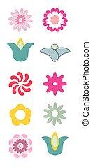 abstrakcyjny, flowers., ikony
