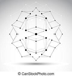 abstrakcyjny, geometryczny, wireframe, wektor, obiekt, ...