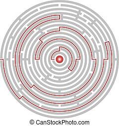 abstrakcyjny, gol, labirynt, zagadka, logika, ścieżka, okólnik