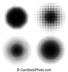 abstrakcyjny, halftone, backgrounds., wektor, komplet, od, odizolowany, nowoczesny, projektować, element.