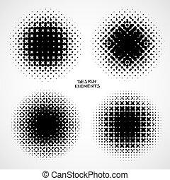 abstrakcyjny, halftone, backgrounds., wektor, komplet, od, odizolowany, nowoczesny, zaprojektujcie element