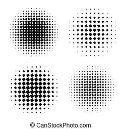 abstrakcyjny, halftone, koło, modeluje, set.