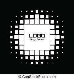 abstrakcyjny, halftone, projektować, logo, biały, element