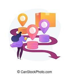 abstrakcyjny, illustration., łańcuch, pojęcie, dostarczać, wektor, analytics