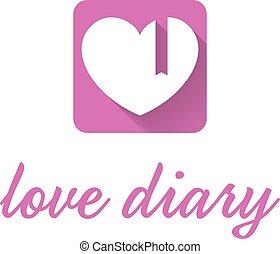 abstrakcyjny, ilustracja, ikona, od, różowy, pamiętnik