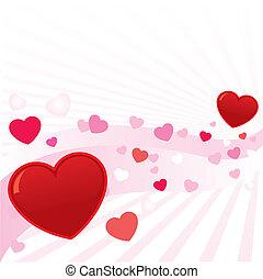 abstrakcyjny, ilustracja, valentine, wektor, tło, serca