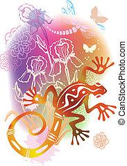 abstrakcyjny, jaszczurka, ilustracja