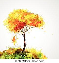 abstrakcyjny, jesień, tło, projektować