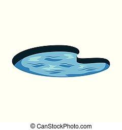 abstrakcyjny, jezioro, falistość, woda, wektor, ikona