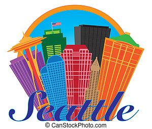 abstrakcyjny, koło, seattle skyline, ilustracja