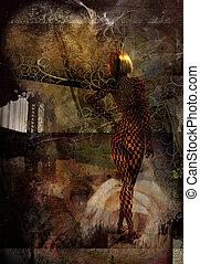 abstrakcyjny, kobieta
