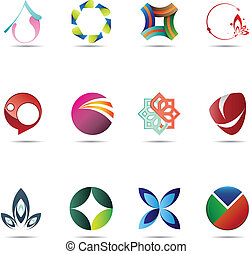 abstrakcyjny, komplet, ikona
