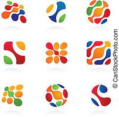 abstrakcyjny, komplet, ikony, handlowy, barwny