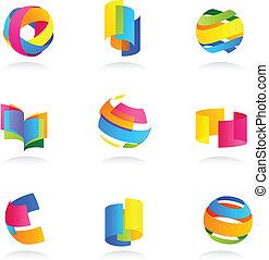 abstrakcyjny, komplet, ikony