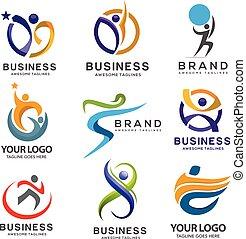 abstrakcyjny, komplet, nowoczesny, logo, stosowność, prosty