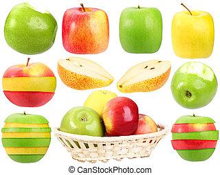 abstrakcyjny, komplet, od, świeży, obcy, owoce