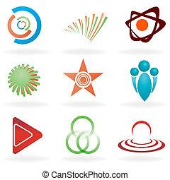 abstrakcyjny, komplet, symbol
