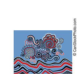 abstrakcyjny krajobraz, doodle