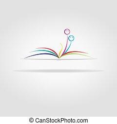 abstrakcyjny, książka, otwarty, twarze