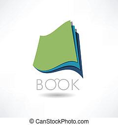 abstrakcyjny, książka, wiedza, ikona