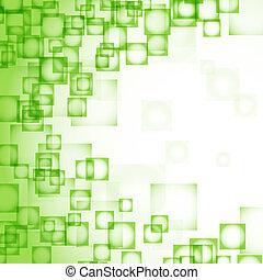 abstrakcyjny, kwadraty, zielone tło
