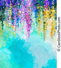 abstrakcyjny, kwiat, malarstwo, nafta, tło