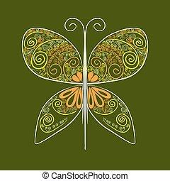 abstrakcyjny, kwiaty, ilustracja, motyl, wektor, żółty