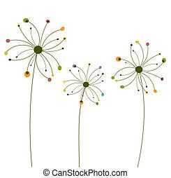 abstrakcyjny, kwiaty, mniszek lekarski
