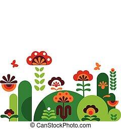 abstrakcyjny, kwiaty, motyle, barwny, -3
